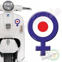 Female Symbol Blue Red Target 3D Decal for all Vespa models Front or Side
