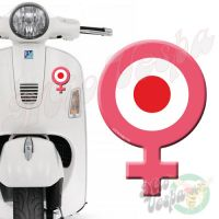 Female Symbol Pink Red Target 3D Decal for all Vespa models Front or Side