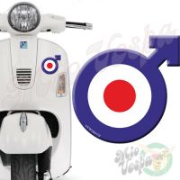 Male symbol Blue Red Target 3D Decal for all Vespa models Front or Side
