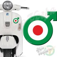 Male symbol Green Red Target 3D Decal for all Vespa models Front or Side