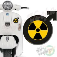 Male symbol RadioActive 3D Decal for all Vespa models Front or Side