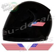 Helmet American Flags 3D Decals Set Left and Right