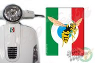 Front Badge Overlay Italian Flag with the Mio Vespa wasp on blue 3D Decal for various Vespa models