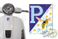 Front Badge Overlay ice blue P with Daisies and the Mio Vespa wasp 3D Decal for various Vespa models