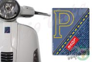 Front Badge Overlay Love Denim with yellow stitching  P on blue 3D Decal for various Vespa models