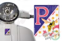 Front Badge Overlay hot pink P with Daisies and the Mio Vespa wasp 3D Decal for various Vespa models
