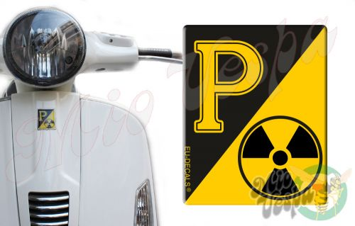 Front Badge Overlay RadioActive with yellow P on black 3D Decal for various Vespa models