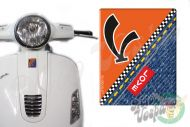 Front Badge Overlay Love Denim with V on orange 3D Decal for various Vespa models
