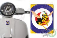 Front Badge Overlay Blue Yellow target and the Mio Vespa wasp 3D Decal for various Vespa models