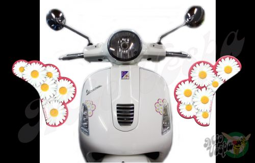 Front Daisies Set Left and Right in Hot Pink Turn Signal Extensions 3D Decals for Vespa GTS GTV 250 300 models