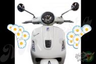 Front Daisies Set Left and Right in ice blue Turn Signal Extensions 3D Decals for Vespa GTS GTV 250 300 models