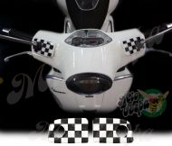 Checkered Flags Straight Handlebar pump covers overlay Left and Right 3D Decals for various Vespa GTS models