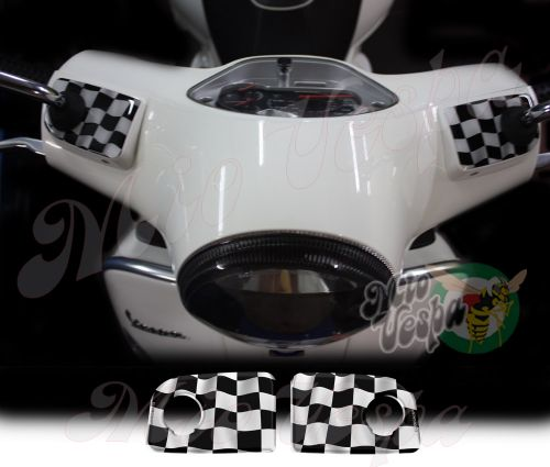 Checkered Flags Wavy Handlebar pump covers overlay Left and Right 3D Decals for various Vespa GTS models