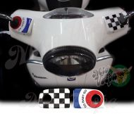 GO BABY GO Blue target and checkered flag Handlebar pump covers overlay Left and Right 3D Decals for various Vespa GTS models