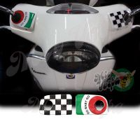 GO BABY GO Green target and checkered flag Handlebar pump covers overlay Left and Right 3D Decals for various Vespa GTS models