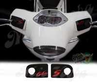 GTS and S in Black Handlebar pump covers overlay Left and Right 3D Decals for various Vespa GTS models