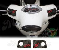Carbon Fiber Look GTS and S Handlebar pump covers overlay Left and Right 3D Decals for various Vespa GTS models