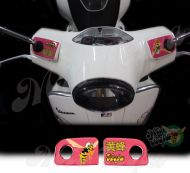 Vespa in Chinese and the Mio Vespa wasp in Hot Pink Handlebar pump covers overlay Left and Right 3D Decals for various Vespa GTS models