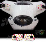Daisies in Hot Pink Handlebar pump covers overlay Left and Right 3D Decals for various Vespa GTS models