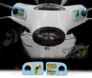 Vespa in Chinese and the Mio Vespa wasp in ice blue Handlebar pump covers overlay Left and Right 3D Decals for various Vespa GTS models