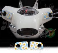 Daisies in ice blue Handlebar pump covers overlay Left and Right 3D Decals for various Vespa GTS models