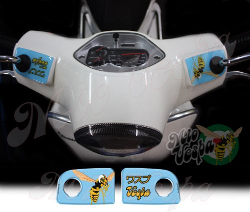 Vespa in Japanese and the Mio Vespa wasp in ice blue Handlebar pump covers overlay Left and Right 3D Decals for various Vespa GTS models