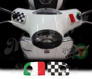 Italy Italian flag and checkered flag Straight Handlebar pump covers overlay Left and Right 3D Decals for various Vespa GTS models
