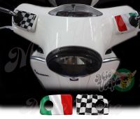 Italy Italian flag and checkered flag Wavy Handlebar pump covers overlay Left and Right 3D Decals for various Vespa GTS models