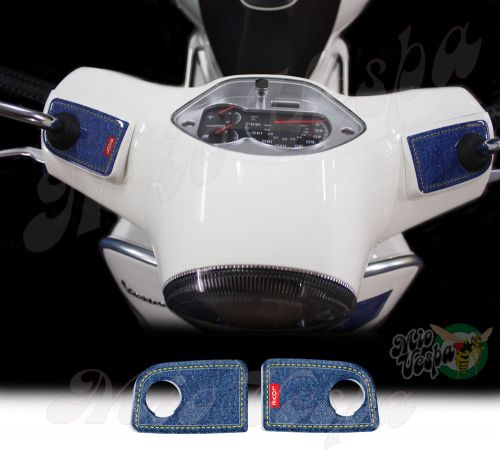 Love Denim Handlebar pump covers overlay Left and Right 3D Decals for various Vespa GTS models