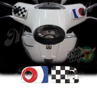 Blue target and checkered flag Handlebar pump covers overlay Left and Right 3D Decals for various Vespa GTS models
