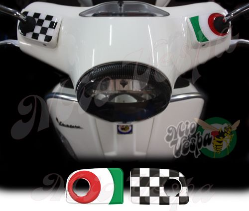 Green target and checkered flag Handlebar pump covers overlay Left and Right 3D Decals for various Vespa GTS models