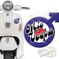 Mio Vepa Male symbol Blue Red Target 3D Decal for all Vespa models Front or Side