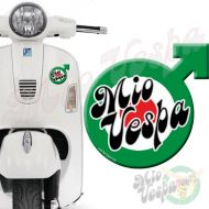 Mio Vepa Male symbol Green Red Target 3D Decal for all Vespa models Front or Side