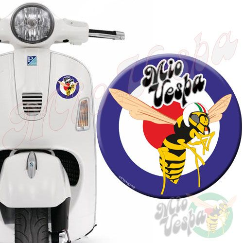Mio Vepa Wasp Blue Red Target 3D Decal for all Vespa models Front or Side