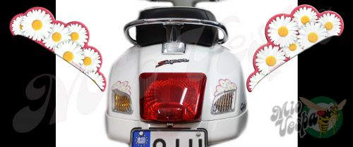 Rear Daisies Set Left and Right in Hot Pink Turn Signal Extensions 3D Decals for Vespa GTS GTV 250 300 models