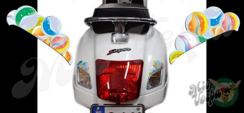 Rear Marbles Set Left and Right Turn Signal Extensions 3D Decals for Vespa GTS GTV 250 300 models